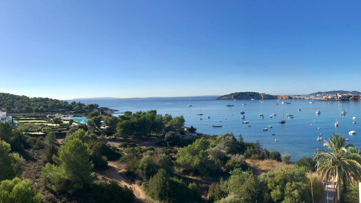Ibiza am Strand von Talamanca, grüne Natur, Palmen, blaues Meer, Hafen und kleine Yachten. Ein Panoramabild in blau und grün