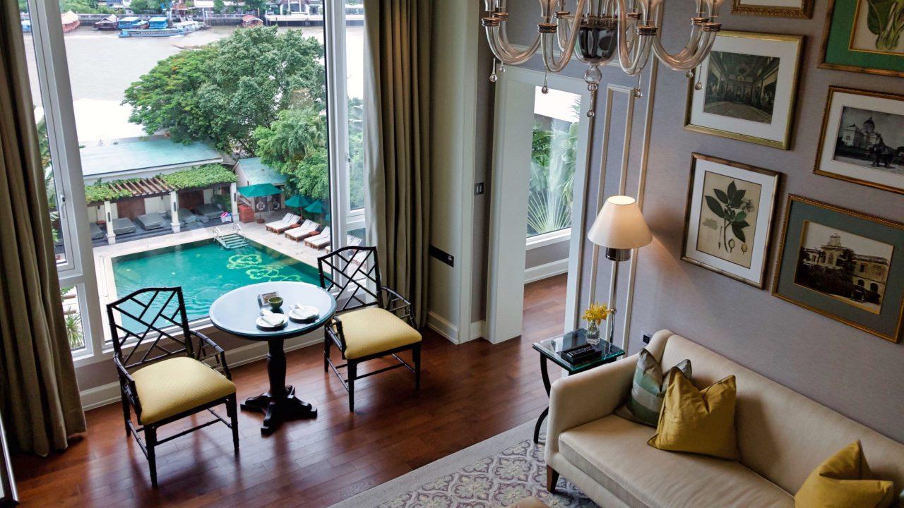 Die Garden Wing Suite im Mandarin Oriental Bangkok mit Flussblick und auf zwei Ebenen.