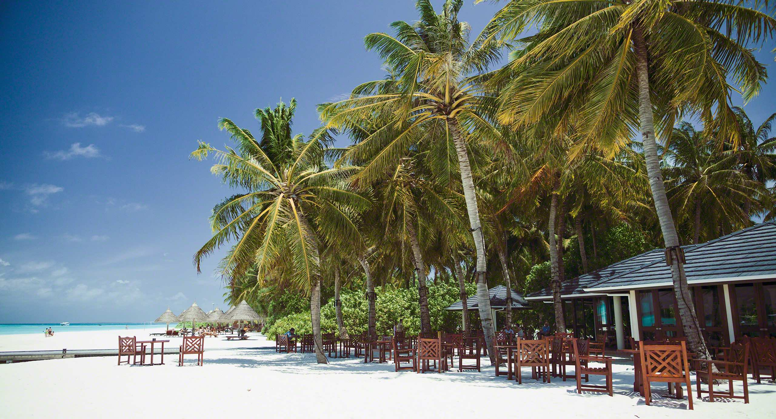 Auf Sun Island genießt du deinen Kaffee direkt am Sandstrand.