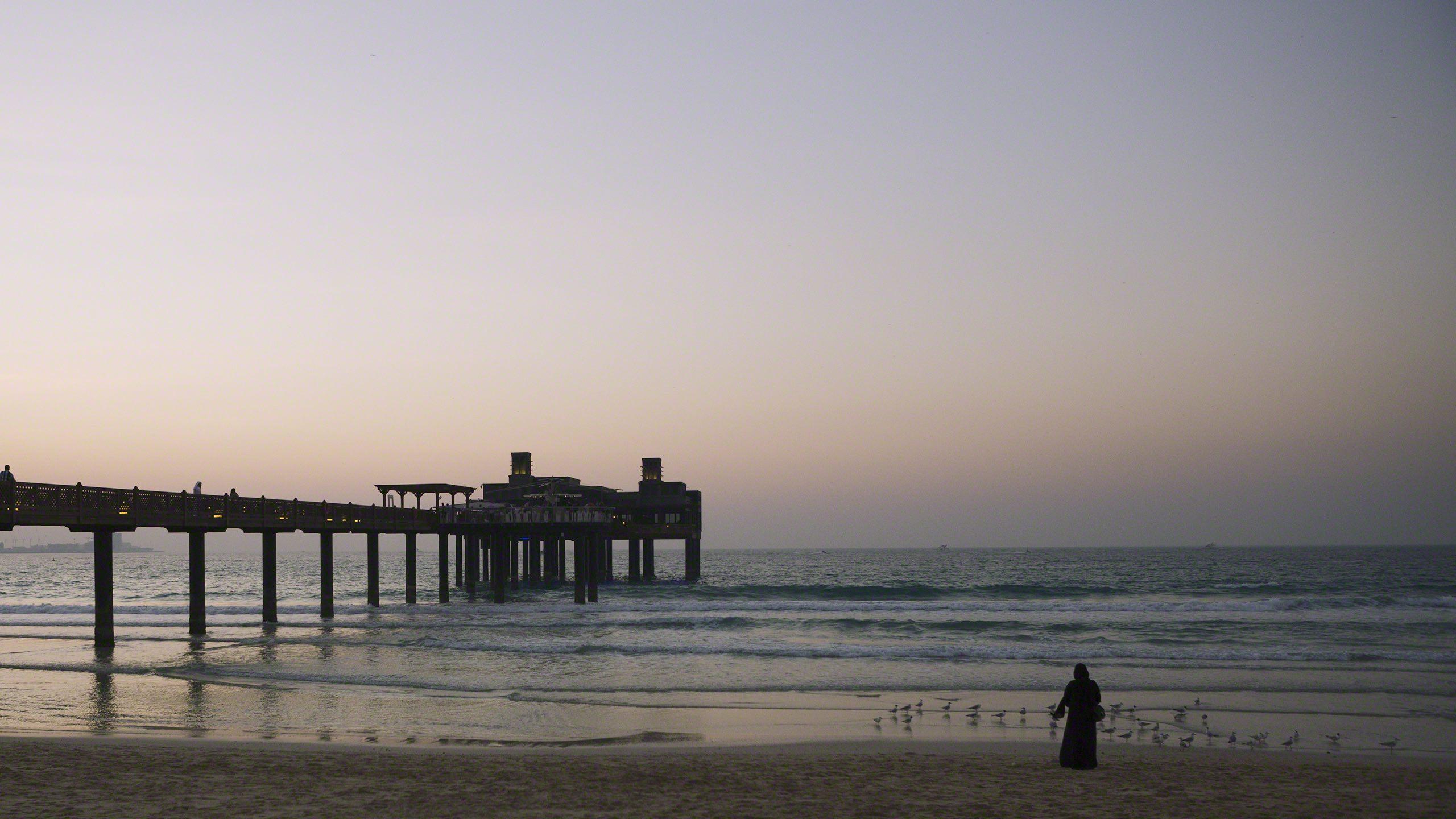 Sonnenuntergang mit Blick zum Pierchic, Restaurant des Madinat Jumeirah Resorts.