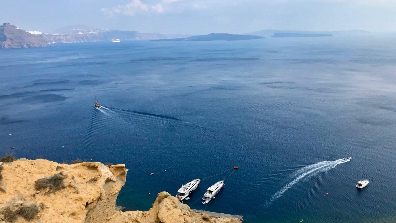 Santorini Reise Highlights und Tipps Restaurant Black Rock Ausblick