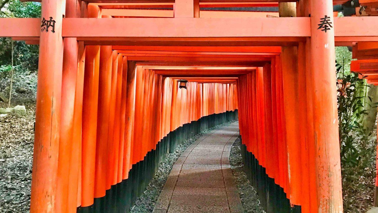 Alleen der Fushimi Indra-Taisha, bekannt durch ihre 1.000 scharlachroten Torii-Wege.